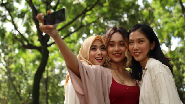 multi-ethnic group of women taking a selfie in the park - tre persone video stock e b–roll