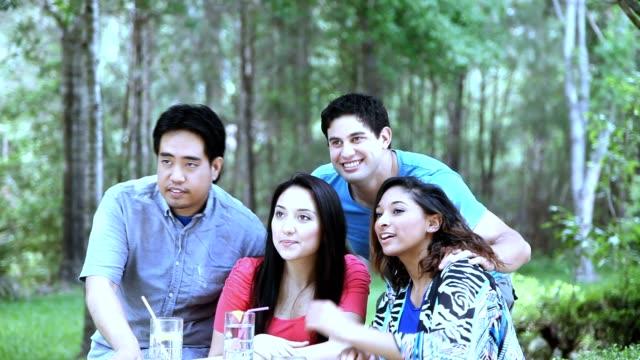 vidéos et rushes de groupe multi-ethnique de jeunes adultes amis profitez de parc en plein air. - vie sociale