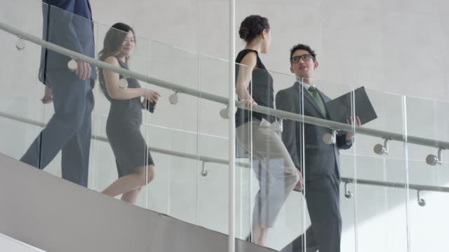 Multi-Ethnic Group of Young Professionals Walking Down a Staircase