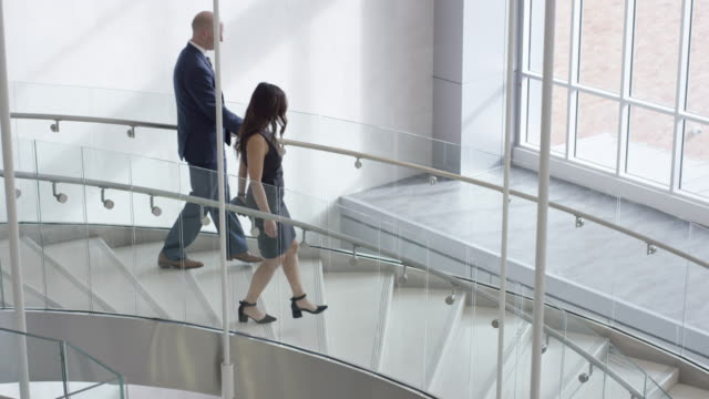 Multi-Ethnic Professionals Walking Down a Staircase