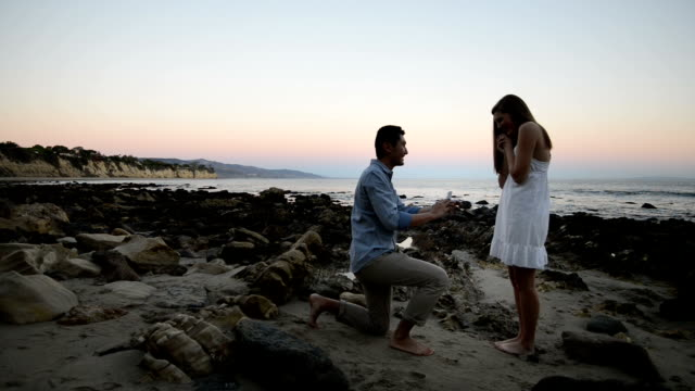 vídeos de stock e filmes b-roll de multi-ethnic romantic couple proposing at the beach - casamento
