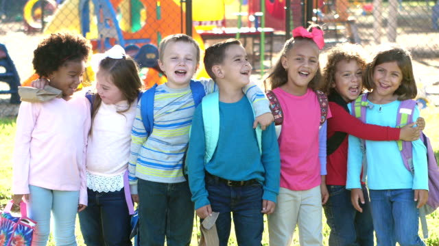 multi-ethnic school children standing in a row - elementary age stock videos & royalty-free footage