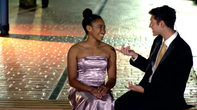 multi-ethnic teenage couple at prom, talking - teenage couple stock videos & royalty-free footage