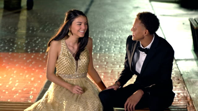 multi-ethnic teenage couple at prom, talking - 16 17 years stock videos & royalty-free footage