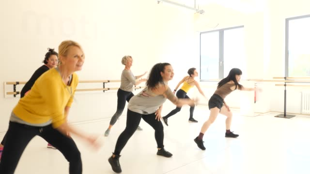 multi-ethnic women dancing at dance studio - dance studio stock videos & royalty-free footage