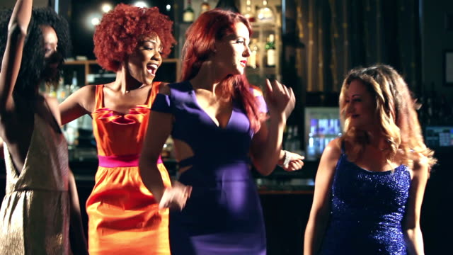 multi-ethnic women enjoying ladies night dancing at bar - cocktail dress stock videos & royalty-free footage