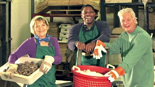 魚介類加工工場の多民族の労働者 - 食品工場点の映像素材/bロール