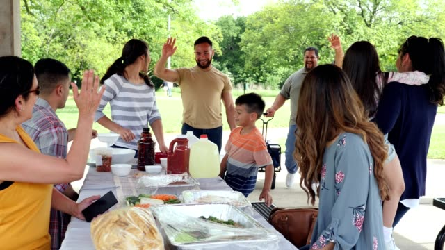 multi-generation family greet one another during family reunion - large family stock videos & royalty-free footage