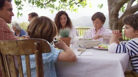 vídeos y material grabado en eventos de stock de familia de múltiples generaciones que almorzar fuera de casa - plato de comida