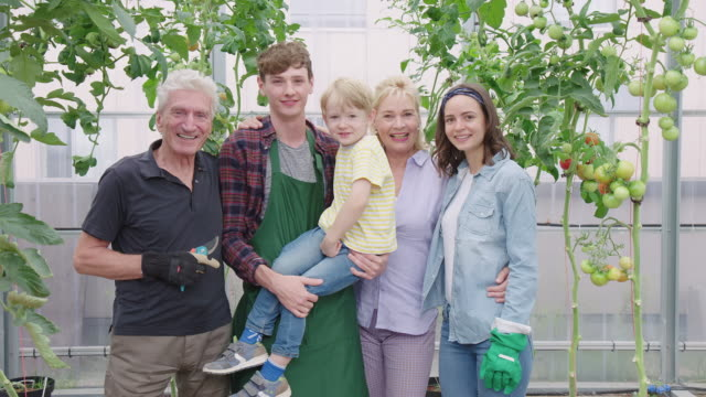 multi-generation family in a green house - human relationship stock videos & royalty-free footage