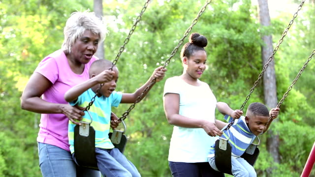 multi-generation family on playground with two boys - 4 5 years stock videos and b-roll footage