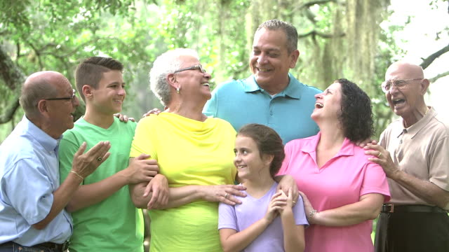 multi-generation hispanic and caucasian family - 65 69 years stock videos & royalty-free footage