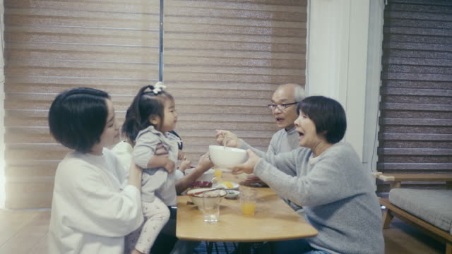 multi-generation japanese family eating toshikoshi soba (new year's eve noodles) noodles - japanese food stock videos & royalty-free footage