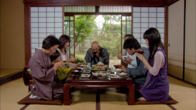 multigenerational family starting dinner/ tokyo, japan - kneeling stock videos and b-roll footage