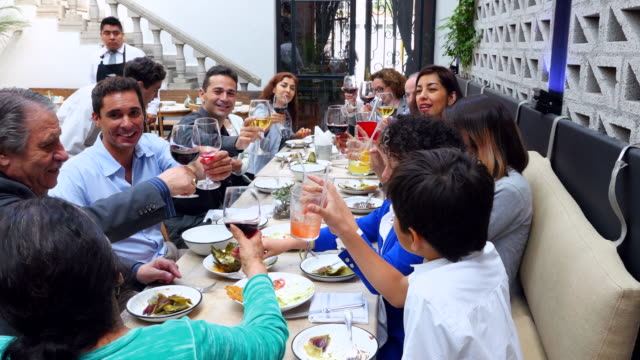 ms pan multigenerational family toasting glasses together during dinner party in restaurant - evening meal stock videos & royalty-free footage