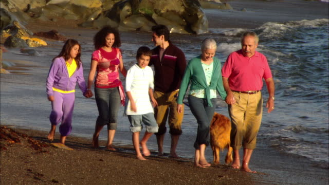 CU, ZO, MS, Multi-generational family with dog walking in Moonstone Beach, Cambria, California, USA