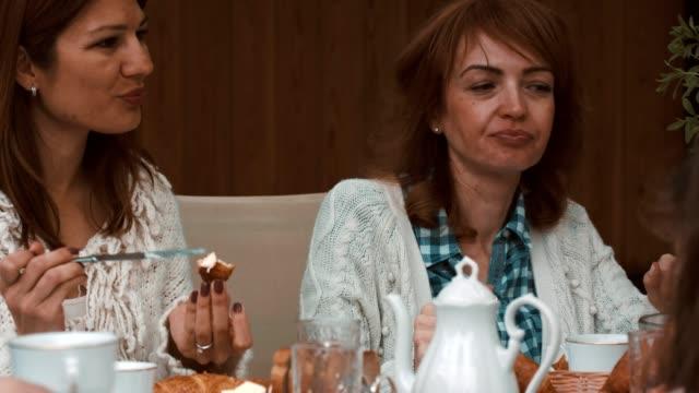 multi-generations of women having brunch - brunch stock videos & royalty-free footage