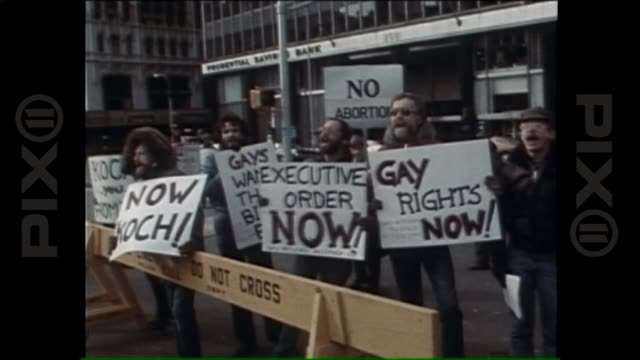 Multiissue protesters demand their rights outside of Mayor Koch's inaugural address MultiIssue Protest 1978 on June 07 2013 in New York NY