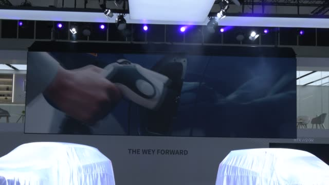 multimedia demonstration before the start of the chinese suv maker wey at the press conference at the company's booth at the 2019 iaa frankfurt auto... - multimedia stock videos & royalty-free footage