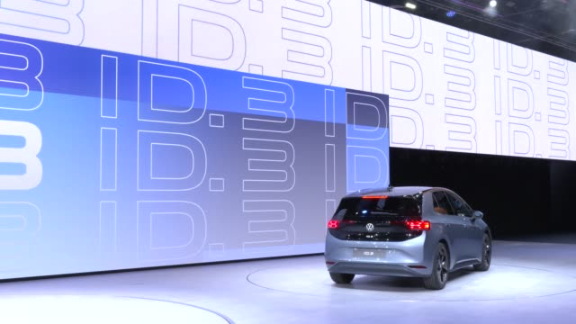 multimedia presentation of the new electric volkswagen id3 at the volkswagen press conference at the company's booth at the volkswagen media preview... - multimedia stock videos & royalty-free footage