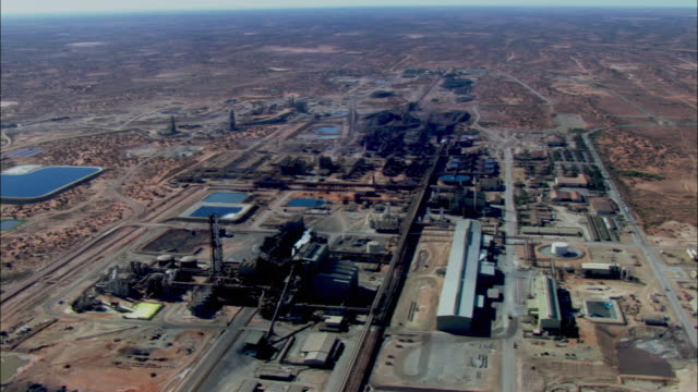 aerial ws multi-mineral ore mining facility / olympic dam, south australia - copper mine stock videos and b-roll footage