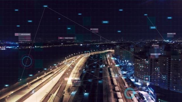 vídeos de stock e filmes b-roll de hud multipath target monitoring in city - futurista
