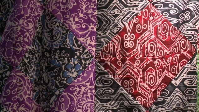 multipattern wax batik fabric, kl, malaysia - batik stock videos and b-roll footage