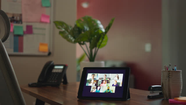 multi-person virtual call occurs on a tablet - 50 59 years stock videos & royalty-free footage