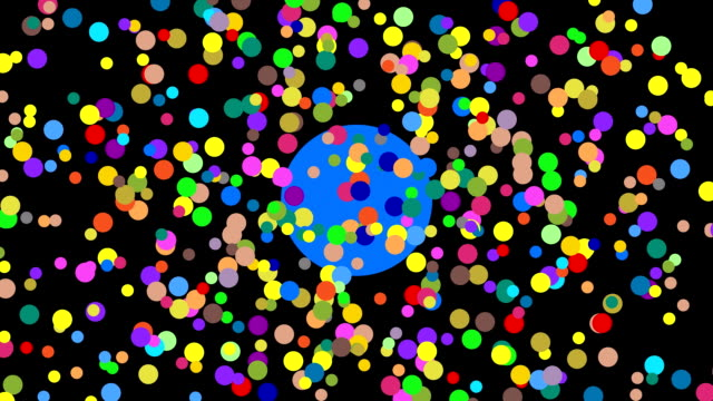 multiple abstract colorful dots in actions leading to copy space - rectangle stock videos and b-roll footage