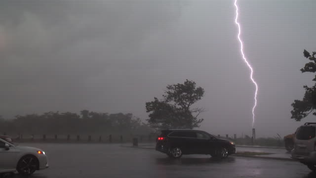 multiple bolts of cloud to ground lightning strike the waters of jamaica bay during a severe thunderstorm in howard beach queens new york new york - scott mcpartland stock videos & royalty-free footage