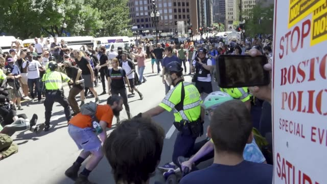 multiple counter antitrump demonstrators arrested and pepper sprayed during 'straight pride parade' in boston massachusetts multiple arrested for... - anti fascism stock videos & royalty-free footage