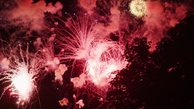Multiple explosions of fireworks fill the night sky with smoke and light on Independence Day.