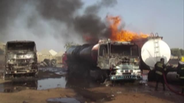 stockvideo's en b-roll-footage met multiple explosions rock the outskirts of nigeria's northeastern city of maiduguri killing three suicide bombers - terrorisme
