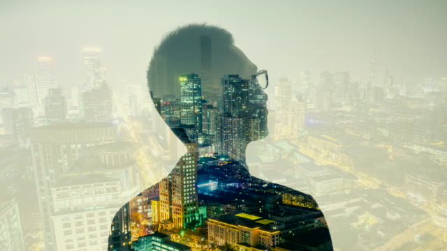 multiple exposure of businessman with city - medium shot stock videos & royalty-free footage