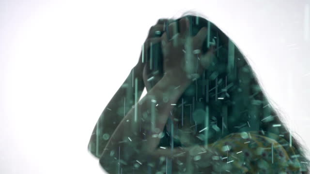 multiple exposure of woman in the rain - schöne natur stock-videos und b-roll-filmmaterial