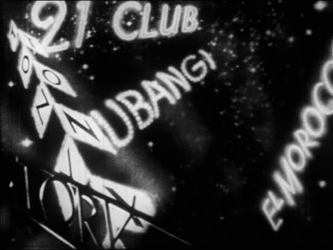 b/w 1928 multiple lights on marquee of 21 club at night / nyc / newsreel - 1928 stock videos & royalty-free footage