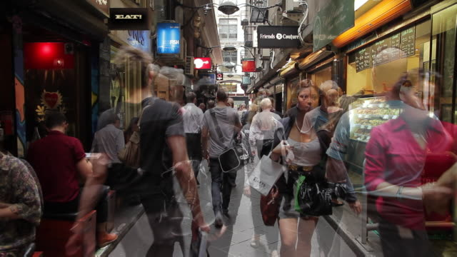 ms multiple people enjoying cafã© and restaurant culture in city lane / melbourne, victoria, australia - merchandise stock videos & royalty-free footage