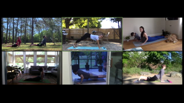 multiple people take an online yoga class - trainer stock videos & royalty-free footage