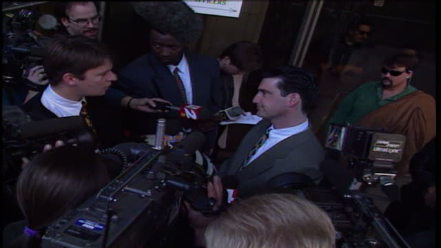 Multiple reporters are interviewing John Myers deputy public defender serving as stalker Robert Dewey Hoskins' lawyer He answers questions about the...
