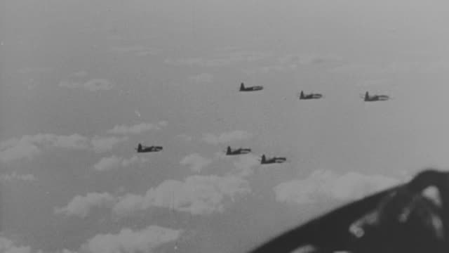 ms aerial la multiple shot of military airplanes in flight and bombs dropping - bomber plane stock videos and b-roll footage