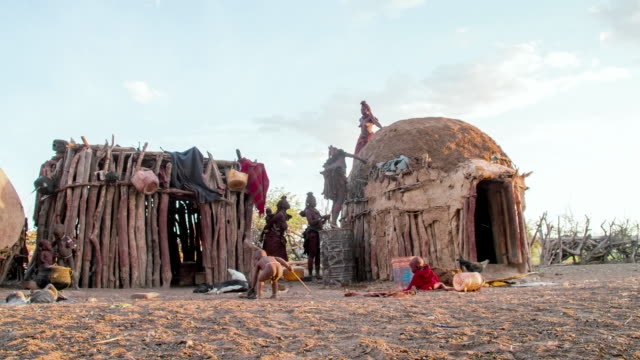 Multiple shots of a lifestyle of Namibian Himba indigenous people in northern Namibia in the Kunene region Africa