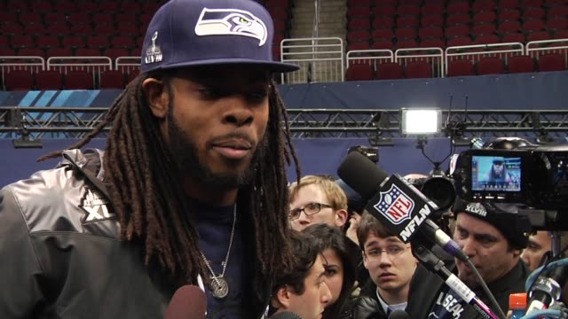 Multiple shots of Seattle Seahawks Cornerback Richard Sherman being interviewed at the Super Bowl Media Day at the Prudential Center in Newark New...