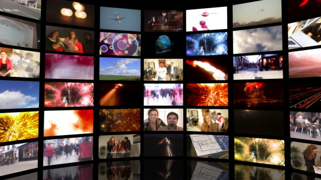 cgi, zo, multiple television screens - wand stock-videos und b-roll-filmmaterial