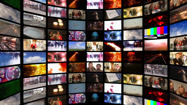 cgi, multiple television screens - wand stock-videos und b-roll-filmmaterial
