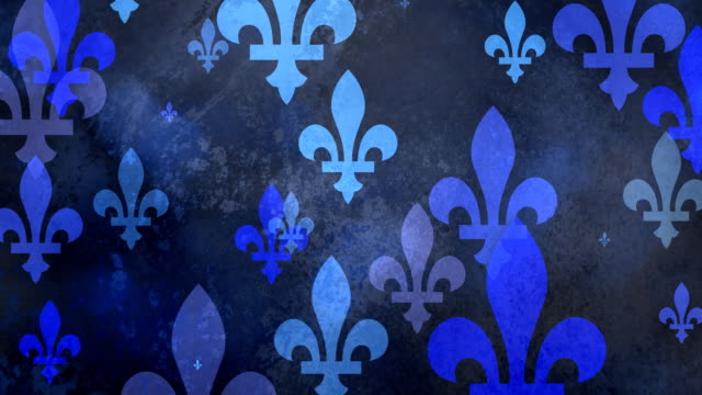 multiple versions (3) blue fleurs de lys from coat of arms, flags and history - giglio video stock e b–roll