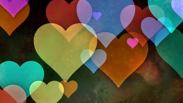 multiple versions (3) colorful copy spaces made from hearts - valentine's day stock videos & royalty-free footage