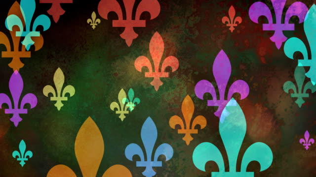 multiple versions (3) colorful fleurs de lys from coat of arms, flags and history - giglio video stock e b–roll