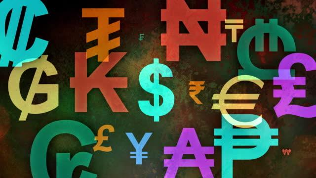 Meerdere versies (3) kleurrijke wereldwijde valutasymbolen