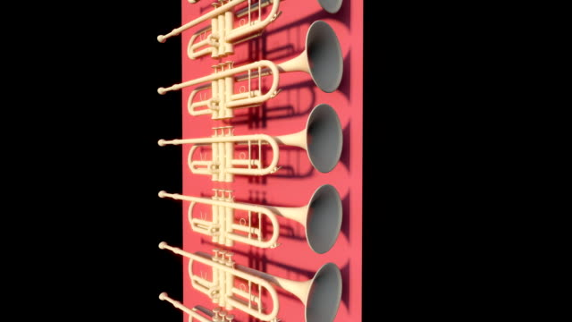 multiple views of scrolling trumpets (loopable) - trumpet stock videos and b-roll footage