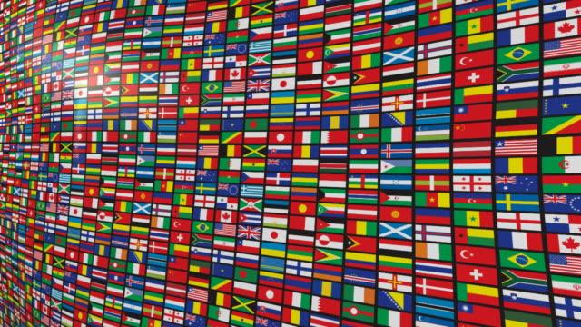 varie bandiere del mondo - bandiera nazionale video stock e b–roll